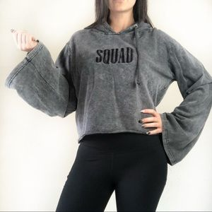 """Missguided gray """"squad"""" cropped hoodie size 8"""